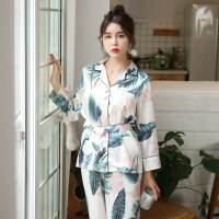 b628c9904 Pull Size 2 Piece Satin Printed Feather Nightwear Bathrobe Women Long Pants Pajamas  Set Sexy V