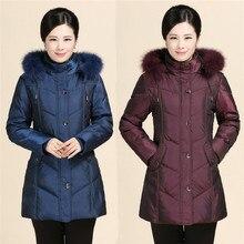 Женщин в новый зимний пуховик в пожилая мать и бабушка установлены меховой воротник толстые код пальто