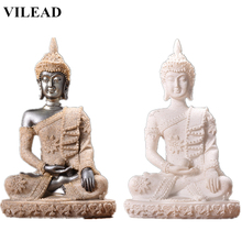 VILEAD 4.3 Thailand Buddha Figurines White Nature Sandstone Statues Religious Vintage Home Decor Miniatures Office Gift