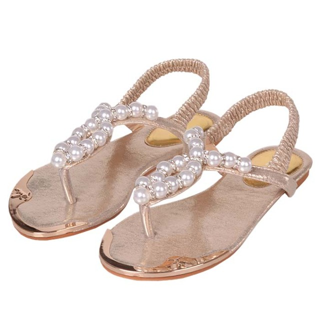 Whole Dressy Pearls Beaded Flat Sandals For Women Shoes Summer Beach Sandles Size 34