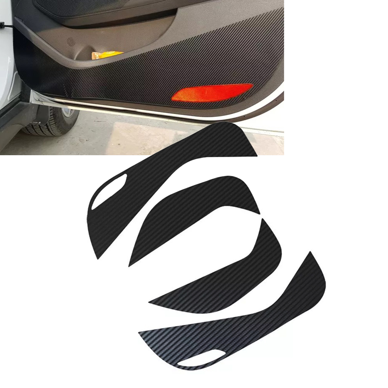 JEAZEA 4Pcs Car Carbon Fiber Inner Door Protective Sticker Anti Kick Film Decal fit for Hyundai