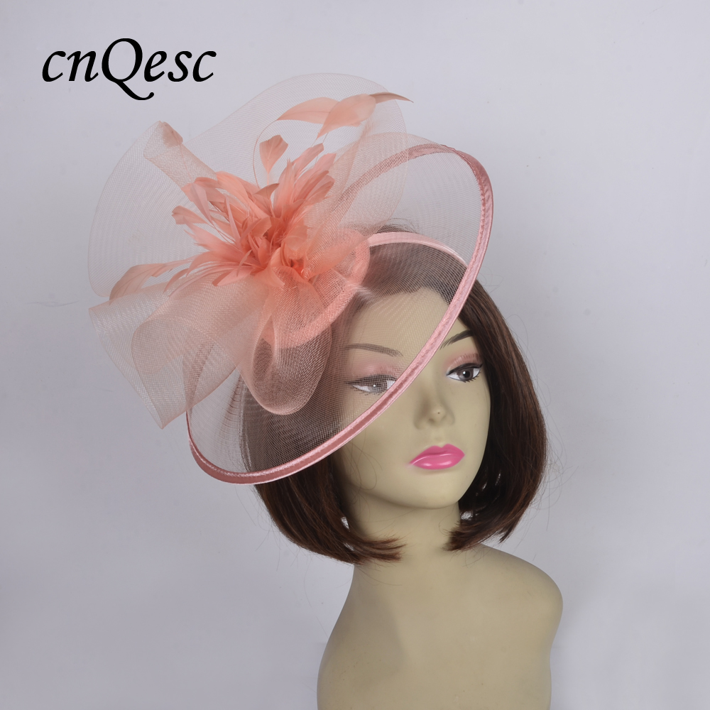 Wholesale Crin sinamay Fascinator sinamay base wedding hat with feather flowers for Melbourne cup Races Kentucky