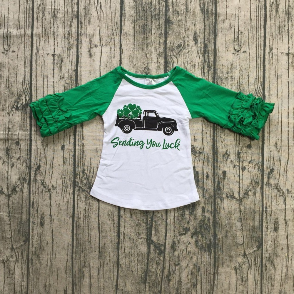 c7cf97eeb St. Patrick's Day baby girls stripe gold shamrocks cotton boutique top T  shirt raglans clothing ruffles print long sleeve green-in Clothing Sets  from Mother ...