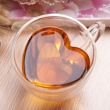 Double Wall Glass Tea Cup Heat-resisting Creative Heart-shaped Layer Cups Juice Mug Milk Coffee Nice Gifts