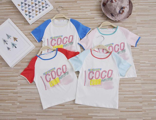 Novos 2017 do bebê das meninas dos meninos Das Mães COCO letra impressa de manga curta de algodão T-shirts de verão da família roupas da moda frete grátis