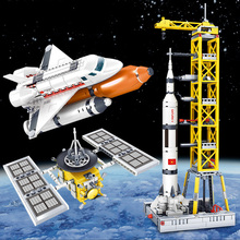 Combined Spacecraft Station City Building Blocks Compatible Legoed Technic Spaceship Astronaut Figures Brick Toys for Children