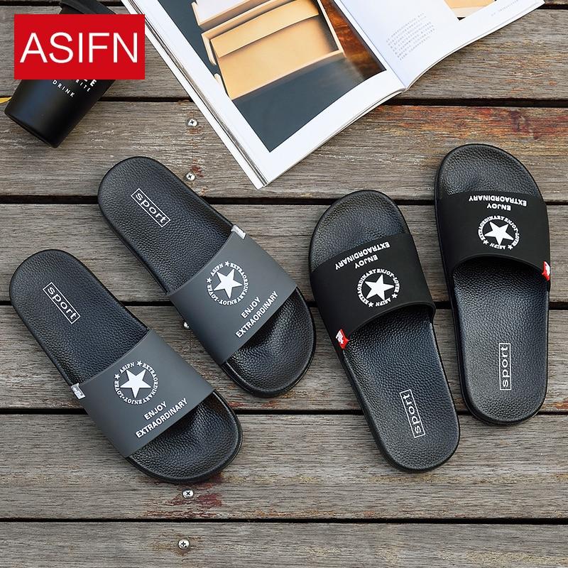 ASIFN Summer Beach Slippers For Men Flip Flops Non-slip Male Slides Sports Women Soft Pentagram Female Home Sapato Masculino
