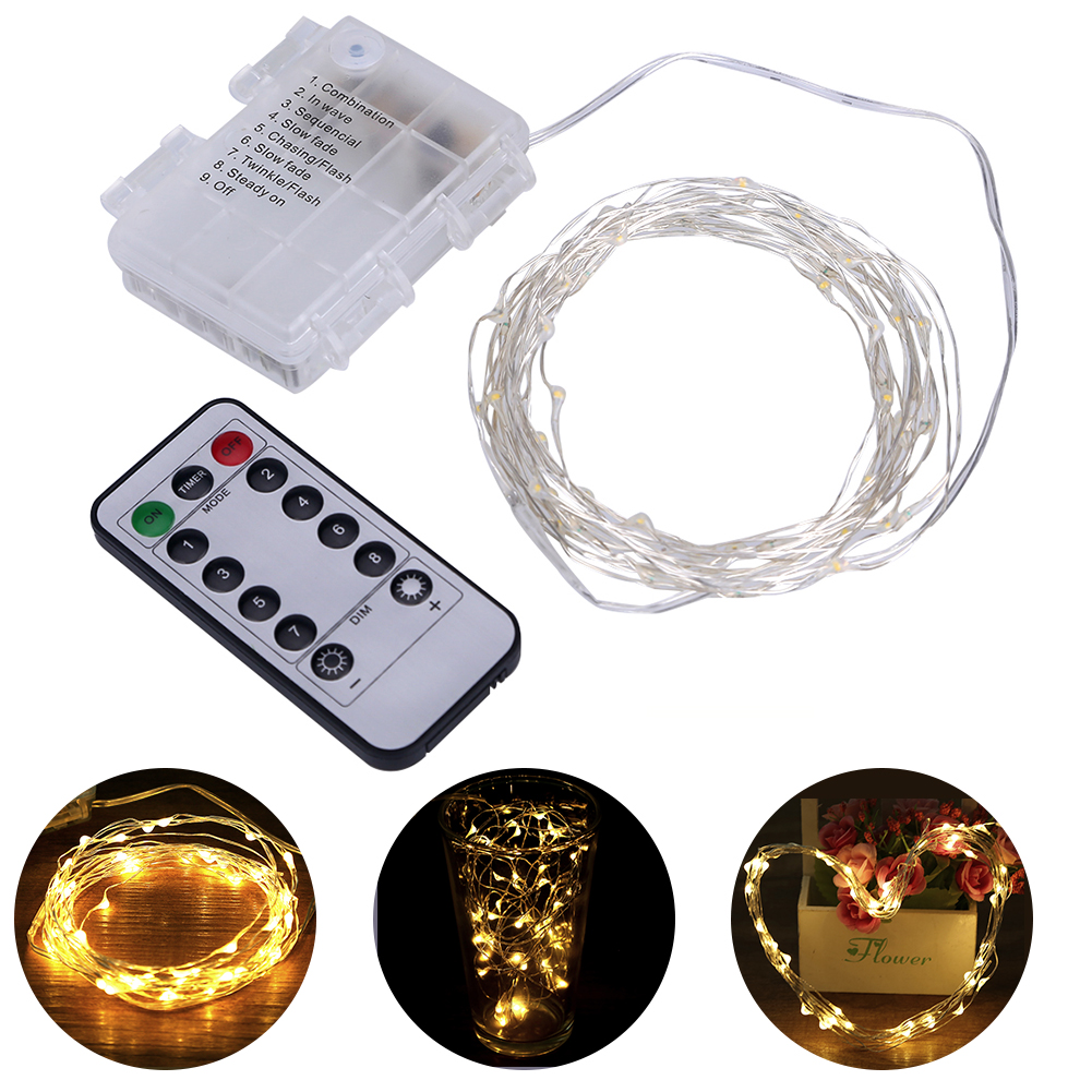 33Ft 8 Modes Waterproof Warm White Battery Operated LED String Lights Fairy lights with Remote Controller