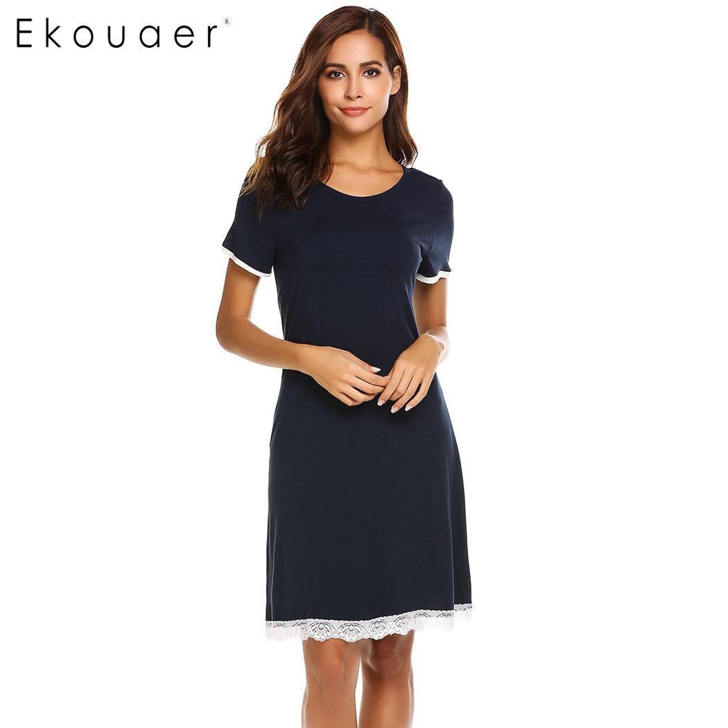 4eea792aab Ekouaer Casual Nightgown Women Short Sleeve Sleepwear O-Neck Lace Trim Soft  Nightdress Female Chemise