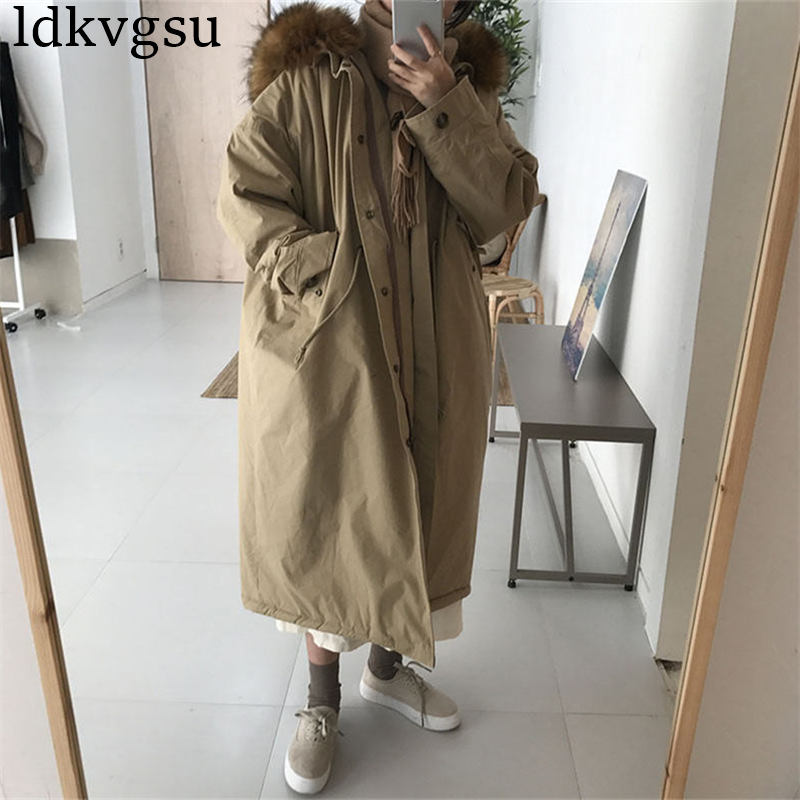 Winter Coat Women Large Fur Collar Hooded Long Jacket Thicken Warm Korean Padded Parkas 2019 Oversized Military Parka A1615