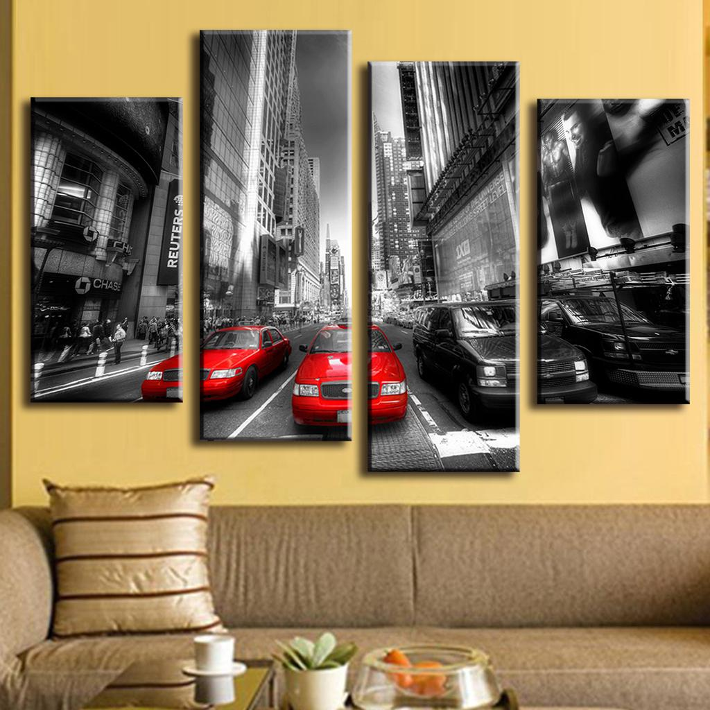 4 pcs set landscape car wall art decoration modern city red taxis on street wall painting prints on canvas for bedroom decor in painting calligraphy from