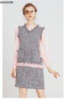 V образным вырезом твид шелк шифон с платье из двух частей