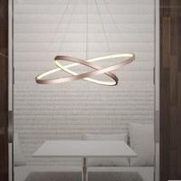 T Simple Circular Ring Modern Metal Pendant Home Livingroom Bedroom Restaurant Lamps Creative LED Chip Lighting