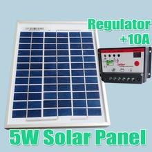 5W Solar Panels + 10A 12V 24V Solar Controller, 18V Solar cell panels charger 12V battery WY