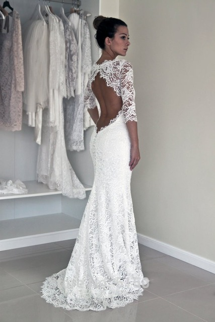 News Sexy Open Back Lace 3/4 Sleeves Mermaid Wedding Dresses Boho
