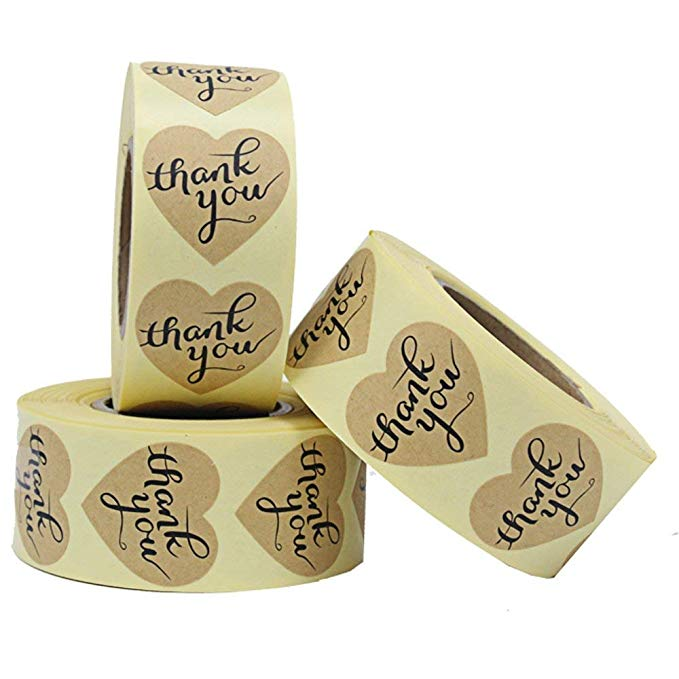 Купить с кэшбэком Heart Natural craft thank you Stickers seal labels 500 Labels per roll cute stickers for Package adesivo sticker stationery