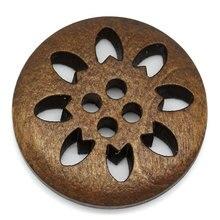 """DoreenBeads деревянная швейная Кнопка Скрапбукинг DIY швейная поставка круглая коричневая 4 отверстия Снежинка узор 25 мм("""") х 25 мм(1""""), 5 шт. Новинка"""