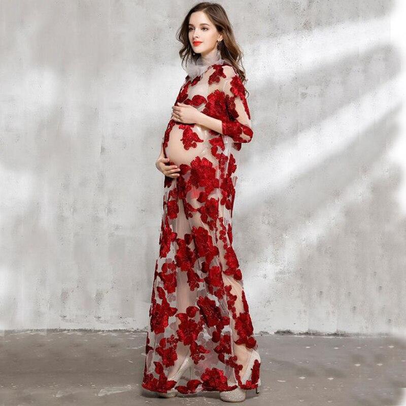 Longues robes de maternité pour Photo Shoot dentelle robes enceintes robes de fête de mariage pour les vêtements enceintes femme été longue robe