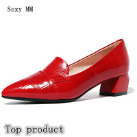 Genuine Leather Low High Heel Shoes Stiletto Women Pumps High Heels Kitten Heels Party Shoes Woman