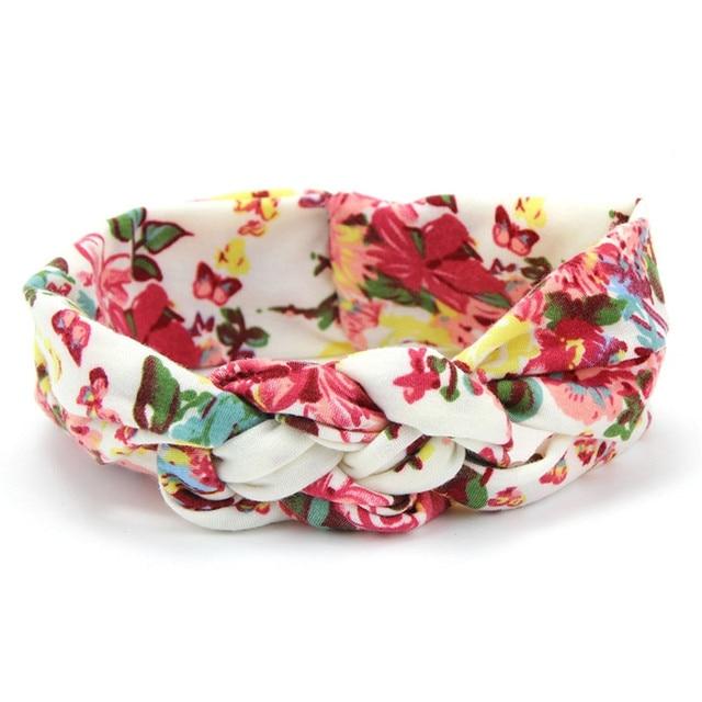 Lovely Flower Printed Cloth Hair Band for Child Turban Knot Cross Headband Headwear Hair Accessories 4