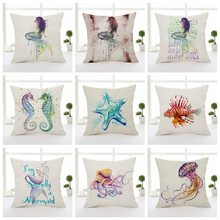 Watercolor Octopus Cushion Covers Ocean Starfish Mermaid Pillow Case Sea Horse Thin linen Cotton 45X45cm Bedroom Sofa Decoration(China)