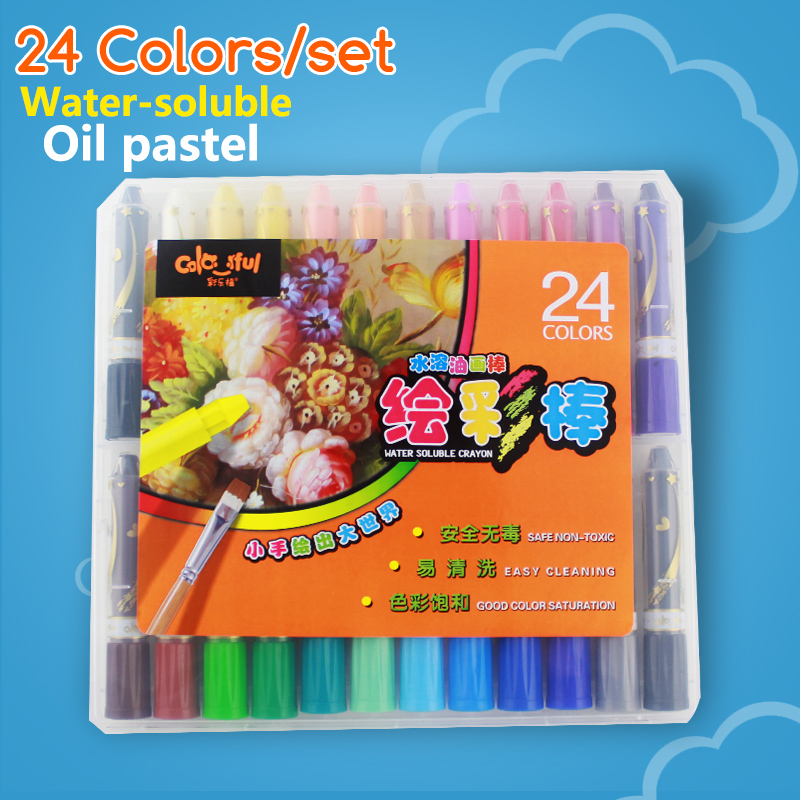 Crayons 24 Colors Set water-soluble rotating oil painting stick child paint brush plastic Case 24 colors oil pastel crayons child support non toxic art tools pen stationery painting the nursery pupils new wholesale