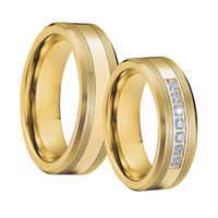 Mens Alianças de Casamento Banda de Tungstênio conjunto Anel anillos bague anel de ouro cor de Titânio Casal Anéis de Noivado para as mulheres