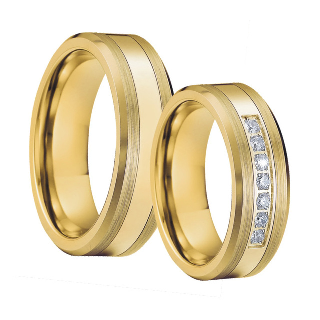 Mens Tungsten Rings Wedding Band ring set gold color bague anel anillos Titanium Engagement Couple Rings for women