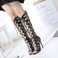 2017 Summer Rome Magazine Section Shoes Women Open Toe Cut-outs Zipper Sandals Pupular High Heels Cross Strap Black Tacons