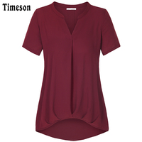 Timeson 2017 Women Short Sleeve Chiffon T Shirts Sexy V Neck Solid Color Basic Brief Vintage