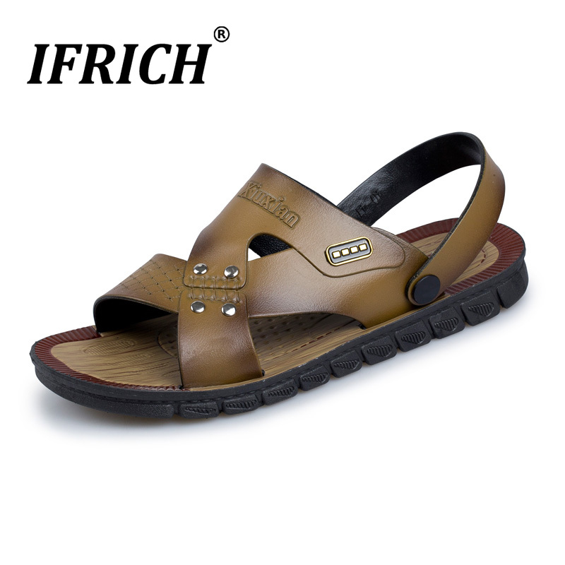 New Trend Mens Sandals Pu Leather Slip-On Mens Sandals Designers New Mens Sneakers Flat Beach Slippers Comfortable Soft Slippers(China)