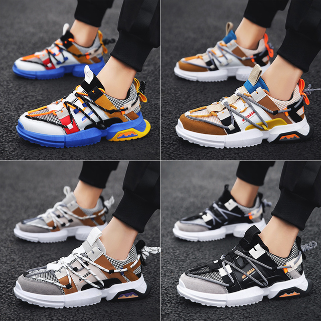GOODRSSON Pu Leather Men'S Sneakers Outdoor Lace-Up Mix Color Flat No-Slip Casual Shoes Man Sport Trainers Walking Footwear 2019