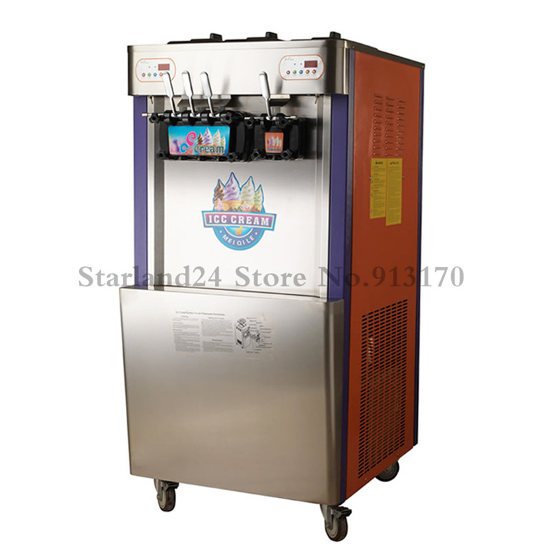 4 Flavors Soft Ice Cream Machine Commercial Soft Serve Ice Cream Machine 48~52Liters/H with Universal Wheels|soft ice cream machine|cream machine|ice cream machine - title=