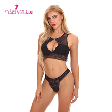 Vali Belo Lace Sexy Lingerie Set Women's Open Chest Perspective Temptation Hanging Shoulder Tight Shaped Bra Top and Thong
