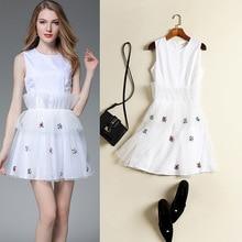 The summer of 2017 white diamond bead Princess Dress sleeveless slim
