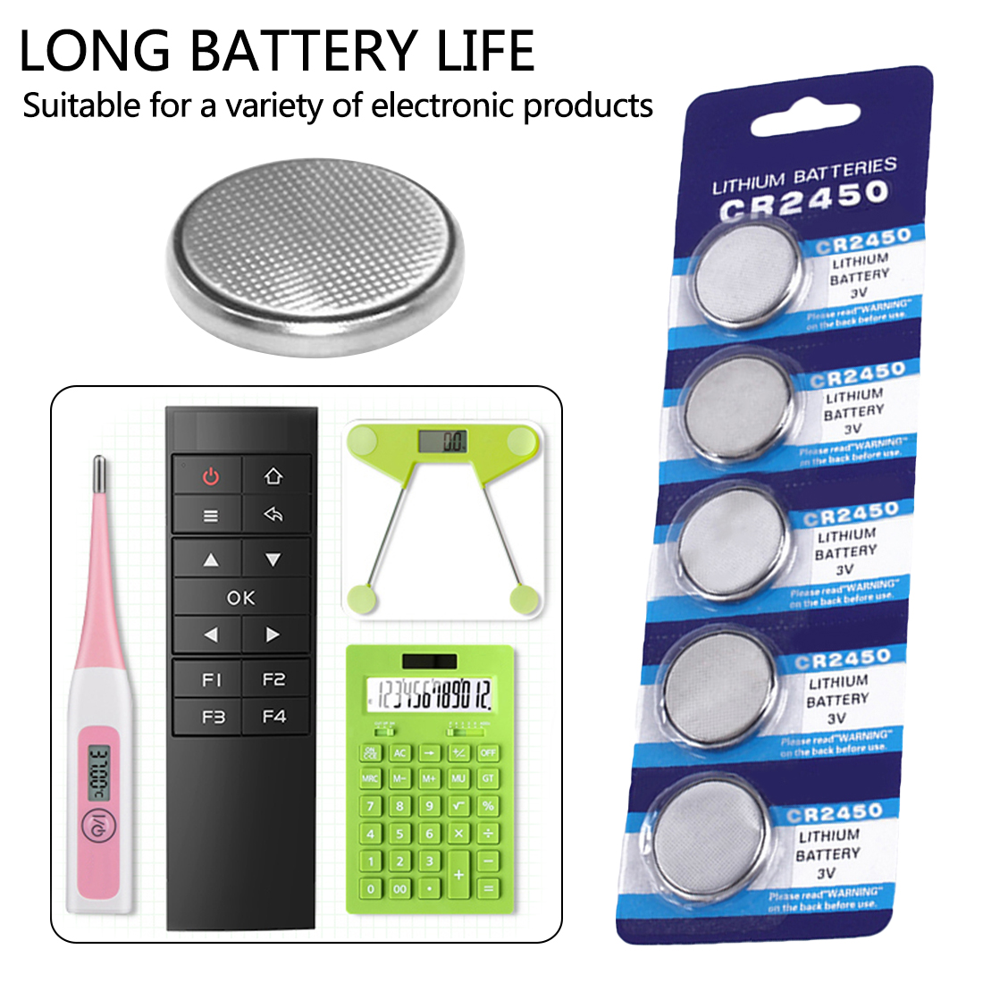 2*5pcs/pack CR2450 Button Batteries KCR2450 5029LC LM2450 Cell Coin Lithium Battery <font><b>3V</b></font> <font><b>CR</b></font> <font><b>2450</b></font> For Watch Electronic Toy Remote image
