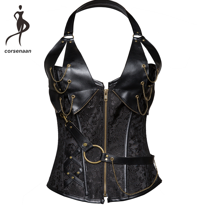 Women's Black Lingerie Sexy Halterneck   Corset   Gothic Steampunk Leather Corselet With G String 908#