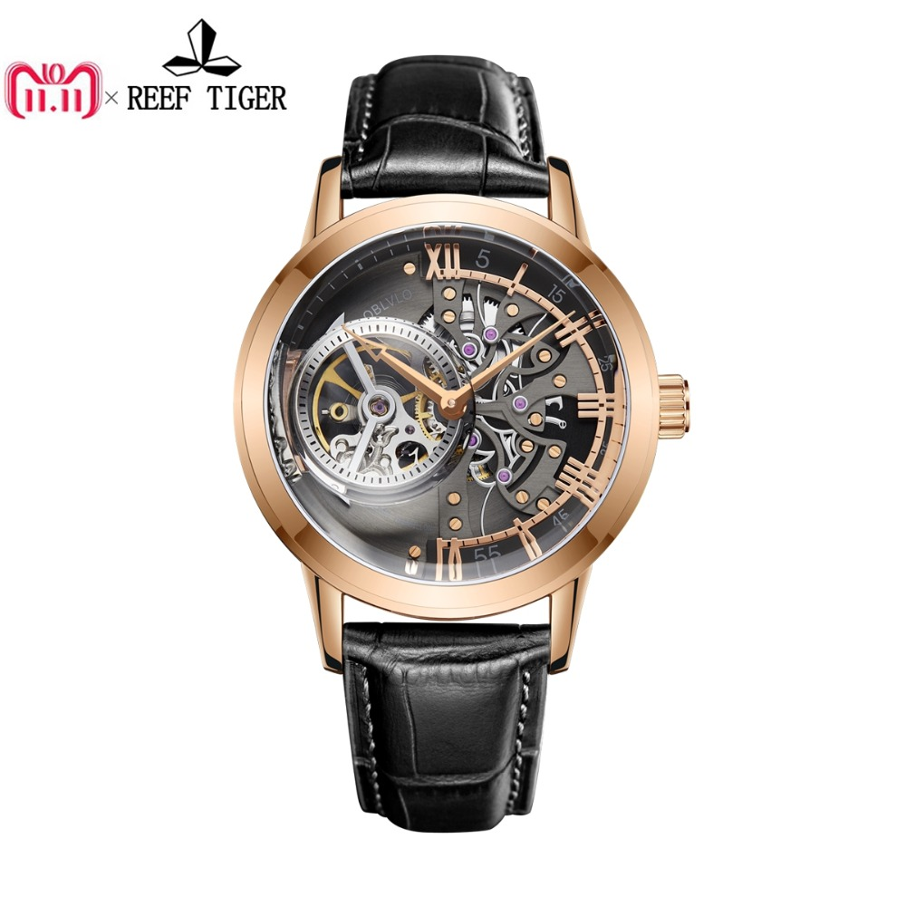 OBLVLO Casual Watches Mens Skeleton Dial Calfskin Leather Band Rose Gold Watches Automatic Watches for Men Montre Homme VM 1 mg orkina small second hand dial wristwatch rose gold case mens watches luxury automatic watch montre homme clock men casual