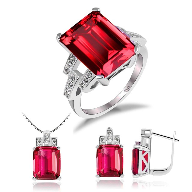 925 Sterling Silver Russian Emerald Ruby Red Jewelry Set
