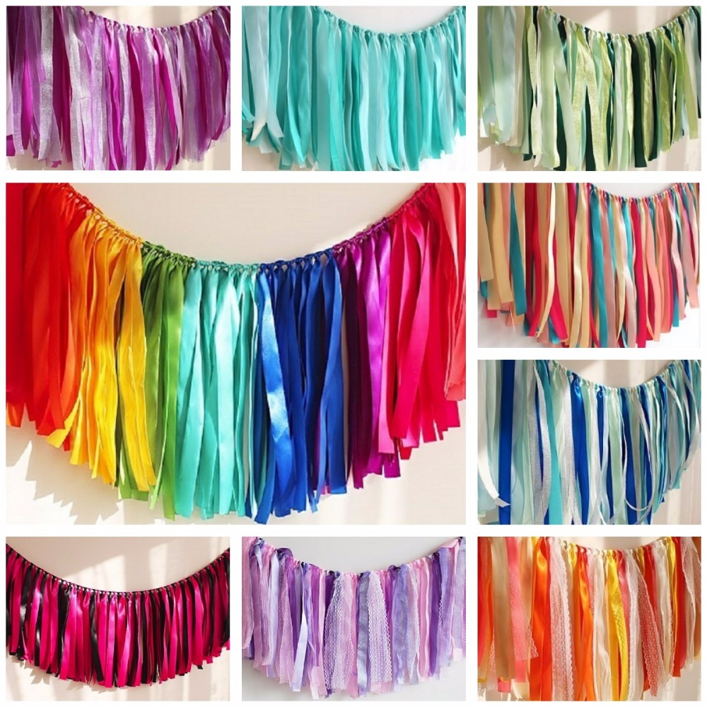 CAMMITEVER Rainbow Blue Lila Alla hjärtans dag Ribbon Banners Garland Ornaments Bröllopspartiklar Garland Wedding Decor