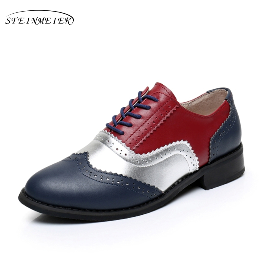 Cow leather big woman US size 11 designer vintage shoes round toe handmade red blue 2019