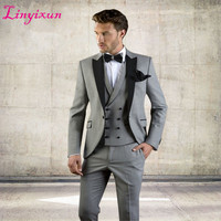 Linyixun Grey Men Suit Slim Fit Jacket With Black Tuxedo Custom Made Blazer Wedding Groom Suits 2018 (Blazer+Pants+Vest)