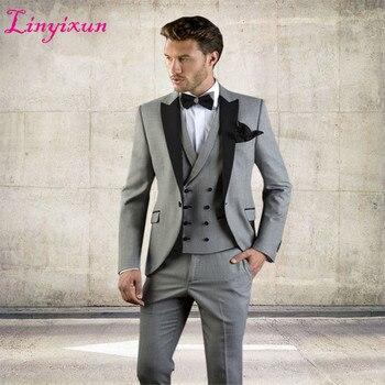 1bda842f440d Linyixun gris hommes costume Slim Fit veste avec smoking noir sur mesure  Blazer mariage marié costumes 2018 (Blazer + pantalon + gilet)