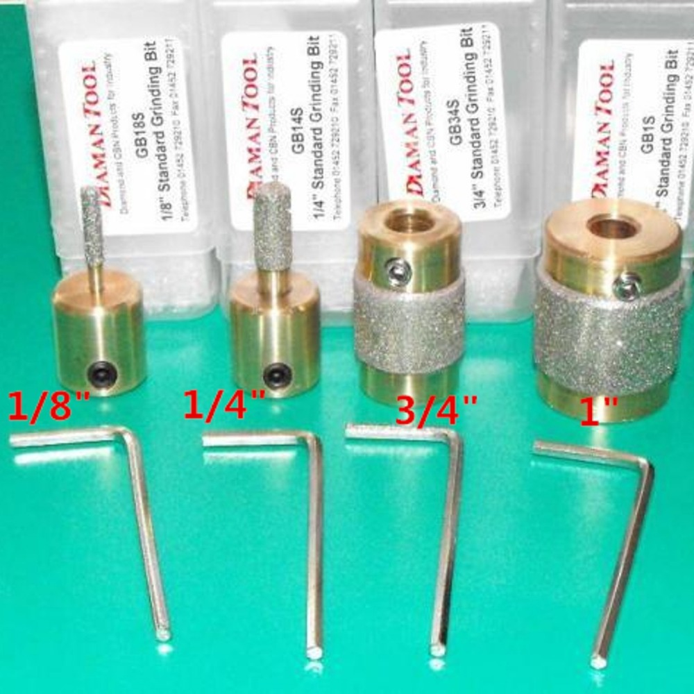 "4 Standard Brass Grit Grinding Bits 1/"" 3//4/"" 1//8/"" 1//4/"" for Inland Stained Glass"