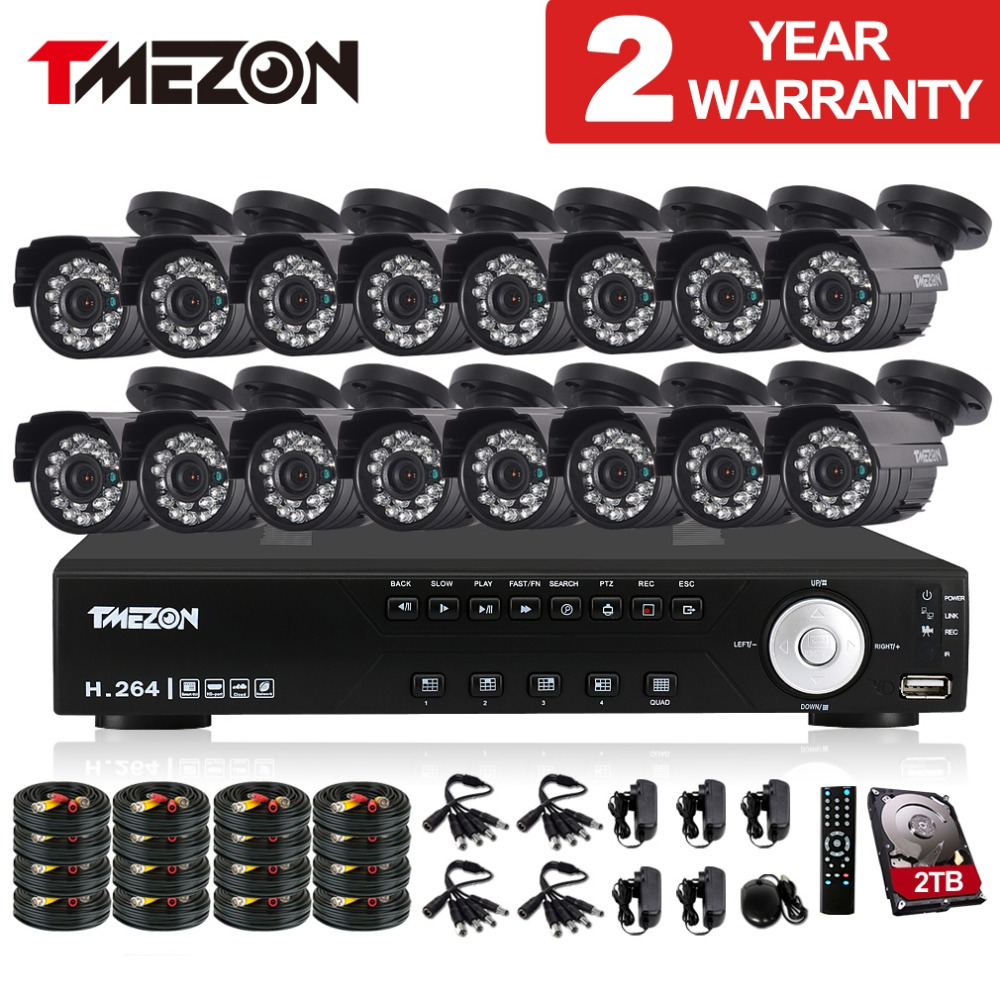 Tmezon 16CH AHD DVR 16Pcs 2 0MP 1080P Camera Security Surveillance CCTV System Outdoor Waterproof IR