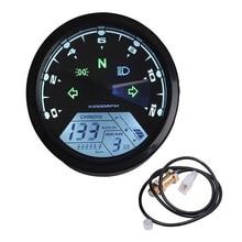 цена на Universal Motorcycle Digital Speedometer Waterproof Motorbike LCD Odometer Tachometer Gauge Fuel Meter Warning Moto Instrument