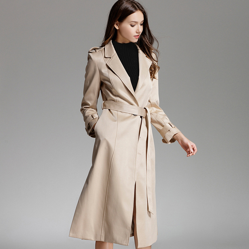 2018 New Spring Women Clother Windbreaker Office Lady Broadcloth Full Long Turn-down Collar Belt Slim Solid Trench