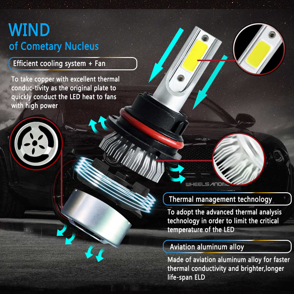1 pair LED Headlights Lights Bulbs Enhanced Car H4 H7 9003 HB2 H11 LED H1 H3 H8 H9 880 9005 9006 H13 9004 9007 Auto  Led Lamps