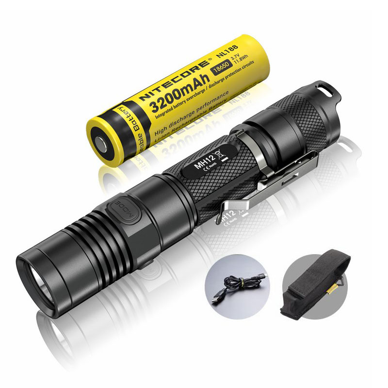 Rechargeable Flashlight NITECORE MH12 max.1000LM beam distance 232M outdoor torch + 18650 3200mAh battery + USB charging cable