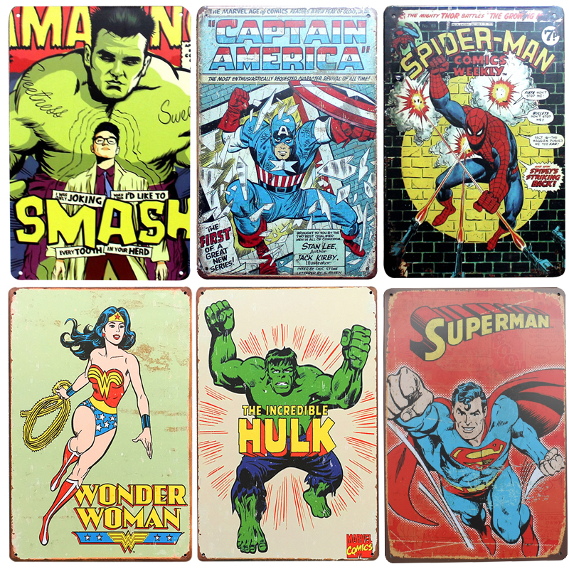 Chic Home Bar Super Bat Man Hero Vintage Metal Signs Decor Tin Pub Decorative Plates Wall Art In Plaques From